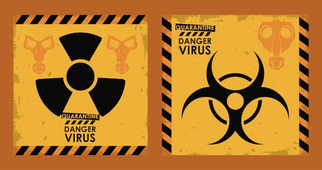 Virus di pericolo con rischio biologico e simboli nucleari