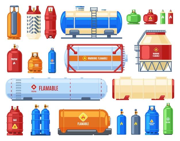 Illustrazione di contenitori di gas pericolosi