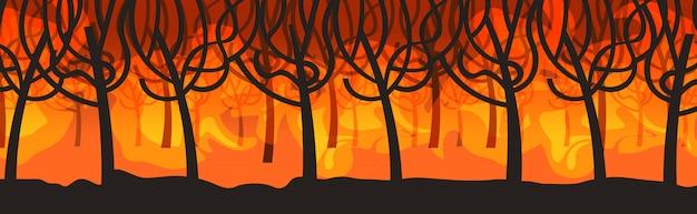 Cespuglio di incendi pericolosi sviluppo del fuoco boschi secchi bruciando alberi riscaldamento globale concetto di disastro naturale fiamme arancione intenso orizzontale