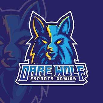 Dare wolf mascot gaming logo