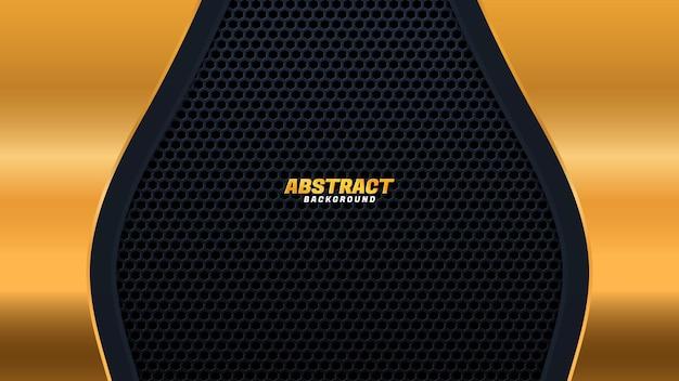 Sfondo astratto scuro con strati sovrapposti neri. texture esagonale con decorazione elemento effetto dorato. concetto di design di lusso.