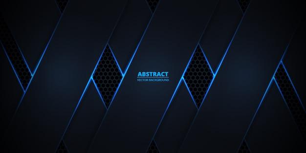 Sfondo astratto scuro con linee luminose blu e riflessi su fibra di carbonio esagonale.