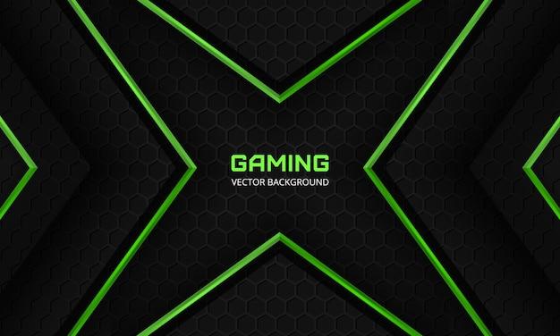 Sfondo di gioco astratto scuro con griglia esagonale in fibra di carbonio e frecce astratte verdi