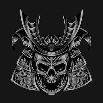 Illustrazione della testa del samurai del cranio corazzato scuro