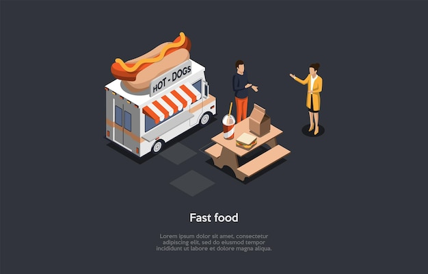 Sfondo scuro, scrittura concettuale. composizione vettoriale isometrica, illustrazione in stile cartone animato 3d. fast food nutrition, conversazione tra due personaggi. tavolo e borsa con i pasti, furgone di cucina. prodotti alimentari spazzatura