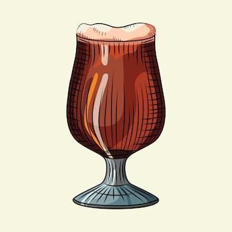 Bicchiere di birra scura con schiuma isolata su sfondo chiaro. poster di bevande alcoliche. design per menu da pub, carte, banner, stampe, imballaggi. stile di incisione. illustrazione vettoriale