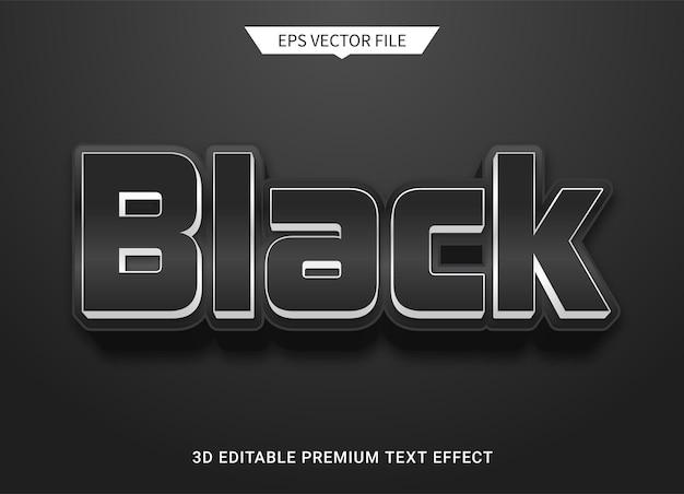 Nero scuro 3d effetto stile testo modificabile vettore premium