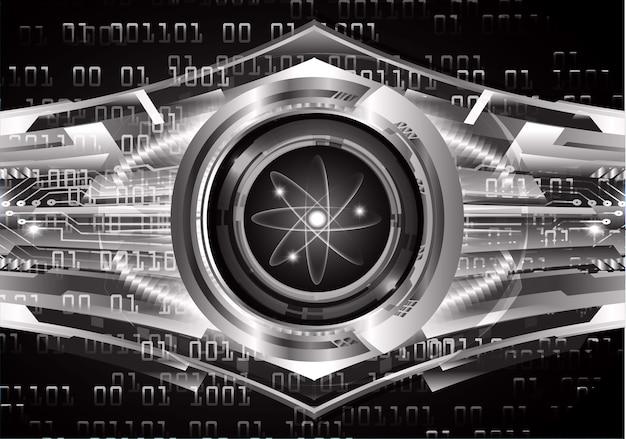 Schema di atomo brillante nero scuro. illustrazione.