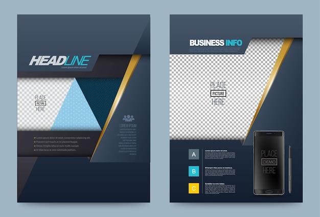 Modello di progettazione volantino opuscolo relazione annuale blu scuro