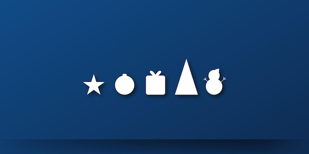Banner di sfondo di presentazione di natale blu scuro con icona di pupazzo di neve regalo stella e albero bella ch...