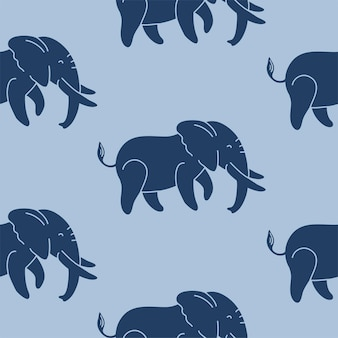 Elefanti blu scuro su uno sfondo blu motivo vettoriale senza soluzione di continuità un motivo ripetuto per i tessuti