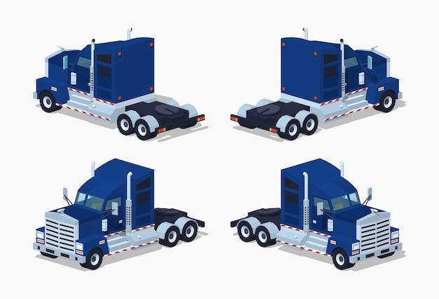 Camion isometrico 3d lowpoly pesante blu scuro Vettore Premium