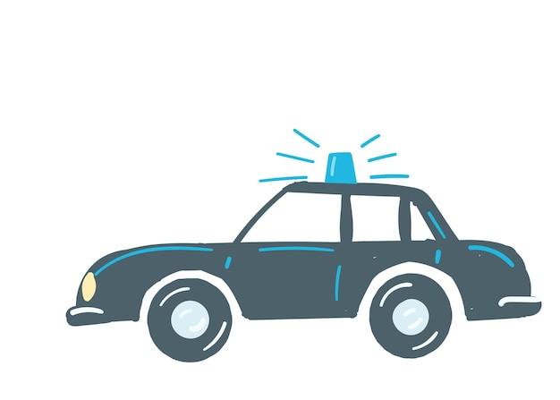 Auto blu scuro auto isolata con sirena blu auto della polizia di emergenza disegnata a mano in stile cartone animato