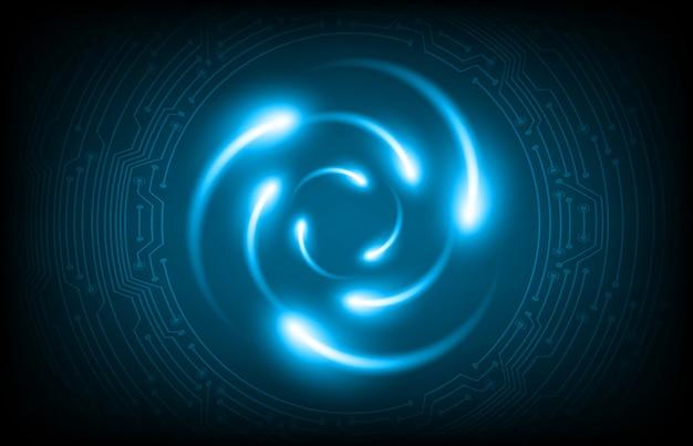Schema atomico brillante blu scuro