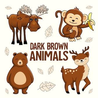 Cervi della birra della scimmia delle alci del fumetto degli animali di marrone scuro