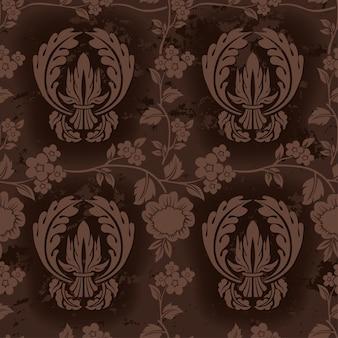 Motivo floreale ripetitivo marrone scuro