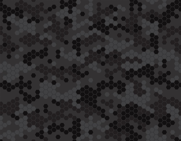 Motivo mimetico scuro con pixel a nido d'ape. ornamento per carta da regalo, vestiti, accessori, sfondo, stampe. illustrazione vettoriale semplice