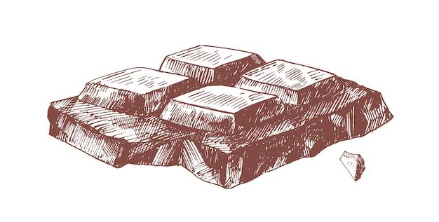 Illustrazione disegnata a mano di pezzo di barretta di cioccolato fondente