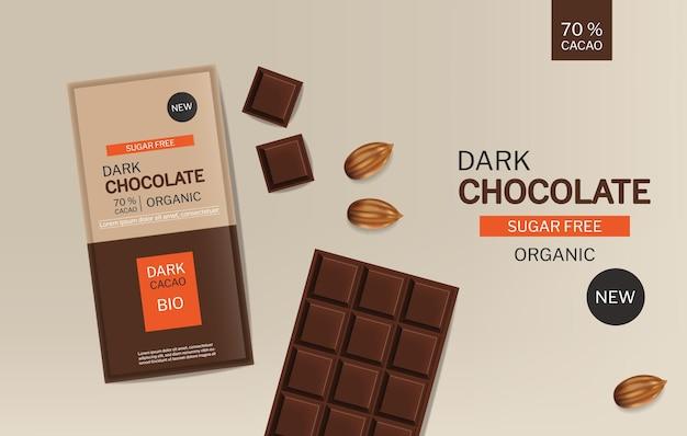 Barretta di cioccolato fondente vettoriale realistico pacchetto di progettazione di posizionamento del prodotto mock up