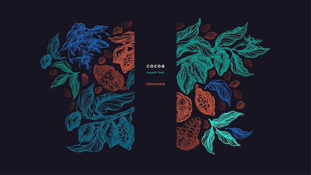 Cioccolato fondente set di texture disegnate a mano di frutta cruda di piante di cioccolato schizzo artistico
