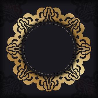 Cartolina di colore scuro con ornamento greco dorato