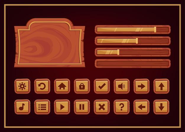 Colori scuri design per set completo di pop-up, icone, finestre ed elementi di gioco con punteggio e pulsante di accensione per la creazione di videogiochi rpg medievali