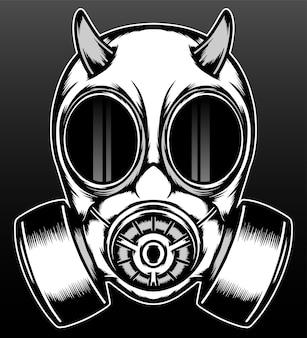 Maschera antigas demone scuro isolata sul nero