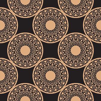 Reticolo senza giunte rugiadoso scuro con ornamenti d'epoca. sfondo in un modello di stile vintage. elemento floreale indiano. ornamento grafico per carta da parati, tessuto, imballaggi e carta.