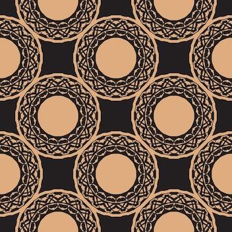 Reticolo senza giunte rugiadoso scuro con ornamenti d'epoca. sfondo in un modello di stile vintage. elemento floreale indiano. ornamento grafico per carta da parati, tessuto, imballaggio.
