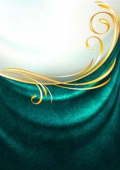 Tenda in tessuto smeraldo scuro con ornamento