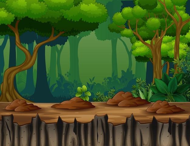 Scena della foresta oscura su un'illustrazione della scogliera