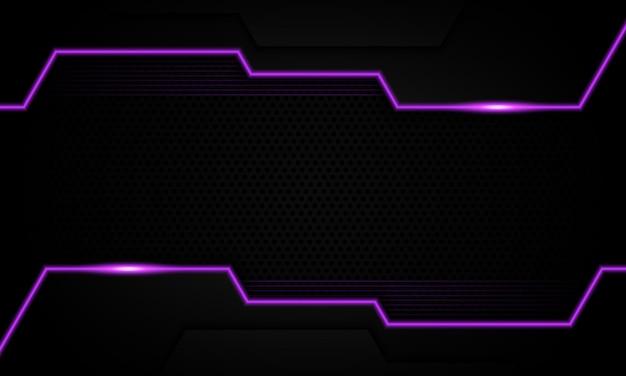 Futuristico scuro con sfondo di linea al neon viola. design moderno per un banner.