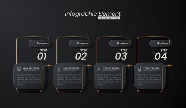 Modello 3d infografica elegante oro scuro con passaggi per il successo. presentazione con icone di elementi di linea.