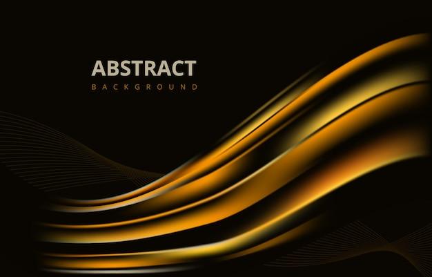 Progettazione grafica della carta da parati del fondo di struttura di pendenza dell'onda moderna astratta dorata scura