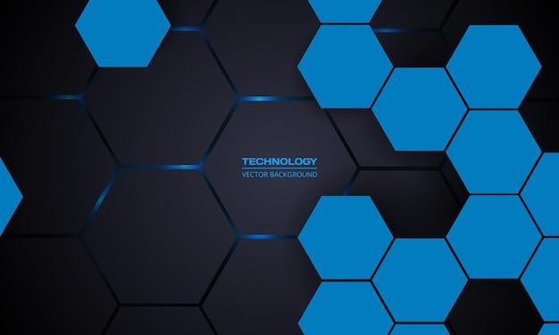 Fondo astratto di tecnologia di esagono grigio scuro e blu