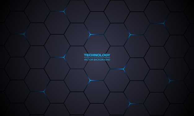 Fondo astratto di tecnologia esagonale grigio scuro