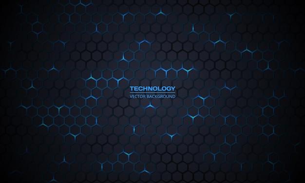 Sfondo futuristico esagonale con tecnologia grigio scuro con energia blu brillante lampeggia sotto l'esagono