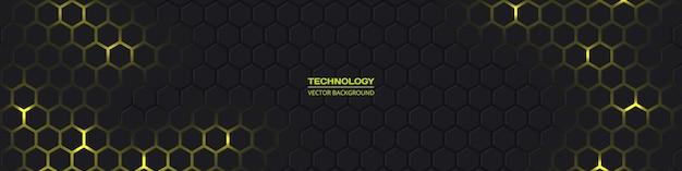 Lo sfondo di tecnologia astratta esagonale largo grigio scuro con energia gialla lampeggia sotto l'esagono