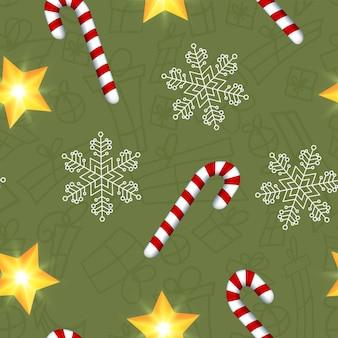 Modello senza cuciture verde scuro con simboli natalizi colorati