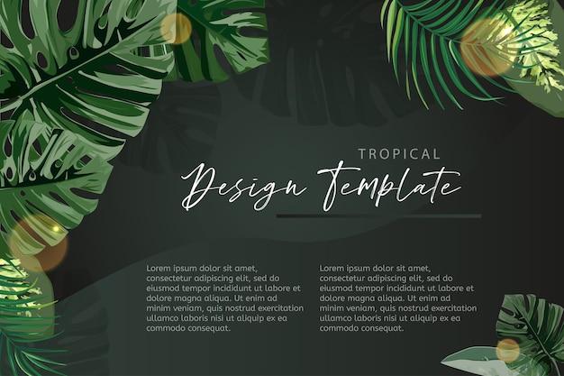 Modello di banner tropicale verde scuro.