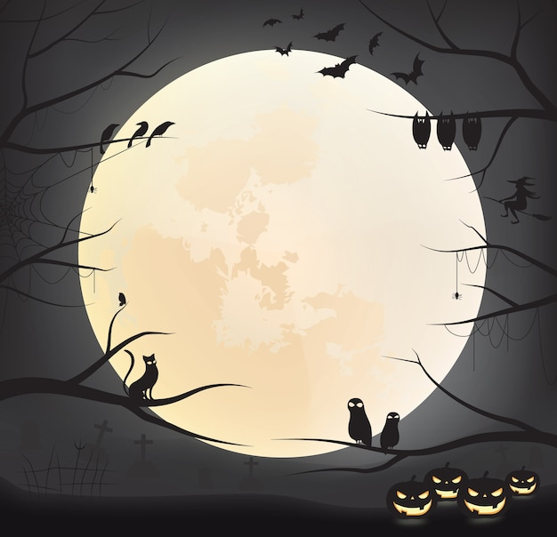 Sfondo scuro di halloween con la luna