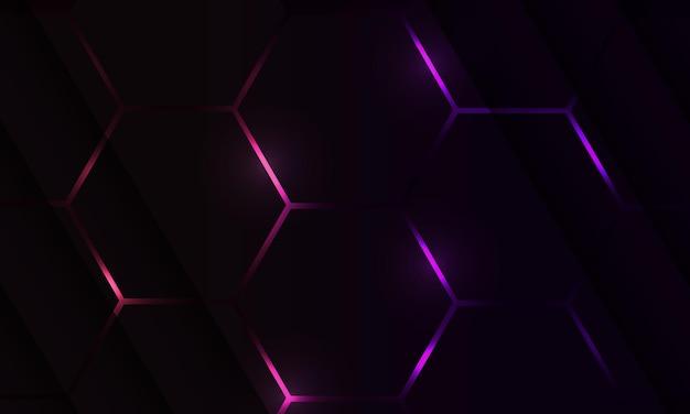 Sfondo astratto di gioco esagonale scuro con lampi colorati viola e rosa