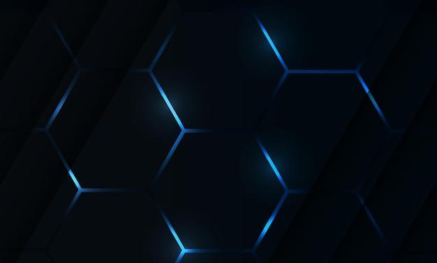 Fondo astratto di vettore di gioco di esagono scuro con lampi luminosi colorati blu