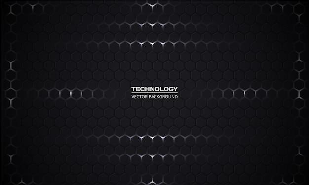 Sfondo scuro esagonale tecnologia astratta. griglia nera a nido d'ape.