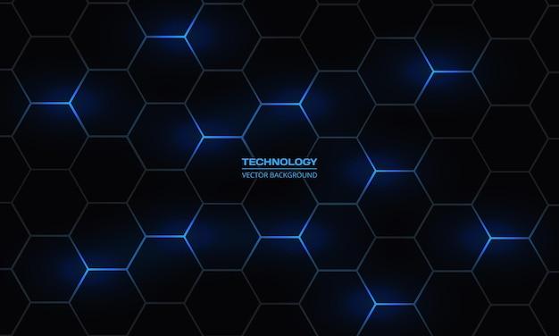 Fondo astratto esagonale scuro di tecnologia con i flash luminosi blu di energia