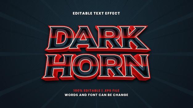 Effetto testo modificabile corno scuro in moderno stile 3d