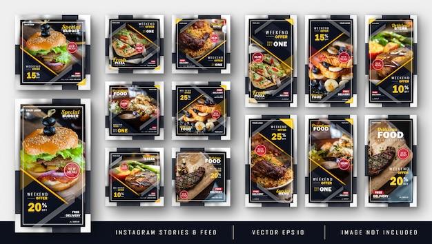 Modello di kit di pacchi alimentari scuro di instagram Vettore Premium