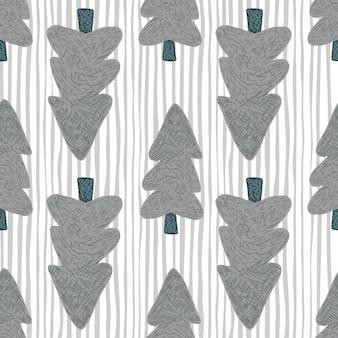Alberi lilla scuri che loking in altri lati su fondo bianco con linee blu. illustrazione. per tessuto, stampa tessile, confezionamento, copertina.