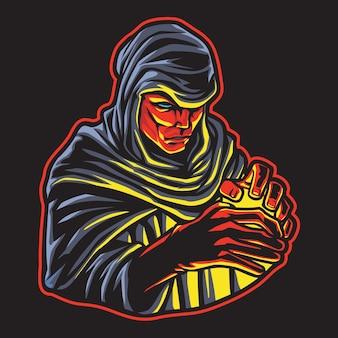 Dark magic wizard esport logo illustrazione