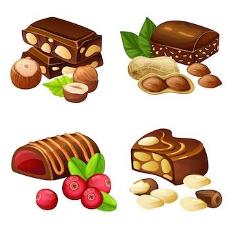 Set di caramelle al cioccolato fondente e al latte